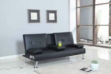 Bluetooth Cinema Sofa Bed With Drink Cup Holder Table Faux Leather 4 Colours Black Com1278tootverbla
