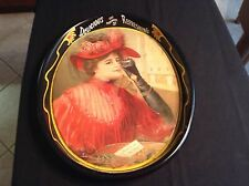 Vintage Coca-Cola 1987 Oval Tin Metal Tray- 1908 Calendar Lady