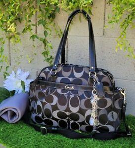 COACH 18376 Addison signature op art diaper multi tote travel bag purse black