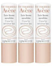 Pack of 3 Avene Care for Sensitive Lips 4g moisturizes, nourishes, alleviates