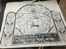 1711 Capt JOHN FOWLE Grave Rubbing CHARLESTOWN Mass Signed And Dated UNUSUAL