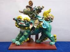 K.I. LIN CHINESE CERAMIC ROOF TILE WARRIOR ON A FOO DOG, IMPERIAL LION
