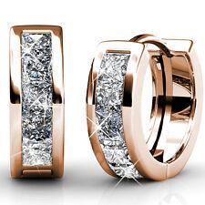 Genuine Swarovski Elements Princess Huggie Earrings 18KGP - KCE825RG