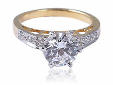 1 Cts Round Brilliant Cut Natural Diamonds Anniversary Ring In Hallmark 14K Gold