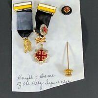 Lot of 3 medals/pin -EQUESTRIAN ORDER OF THE HOLY SEPULCHRE OF JERUSALEM (EOHSJ)