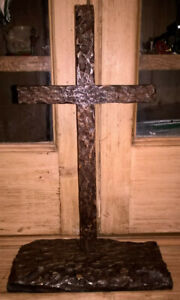 WOODEN CROSS CRUCIFIX VINTAGE CARVED BLACK FOREST STYLE HEAVY  - TABLETOP
