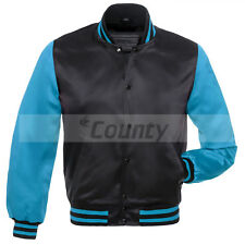 New Letterman Baseball College Varsity Jacket Sports Wear Black Turquoise Satin