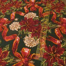 Alexander Henry cotton fabric Chritma dark green Poinsettia flower ribbon BTHY