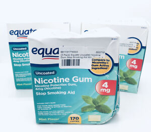 3 Pack Equate Mint Flavor Uncoated Nicotine Polacrilex Gum 4 mg 510 Count 03/23