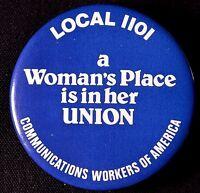 THE FUTURE IS FEMALE 1980'S - WOMENS RIGHTS -  ORIGINAL  PINBACK SCARCE