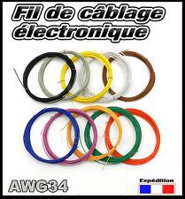 awg34/5# fil câblage modélisme Ø0,5mm bobine de 5m -- plusieurs couleurs dispo