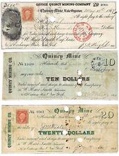 1860s $10 + $20 + $500 QUINCY MINE, Michigan, Copper Mining Scrip Set