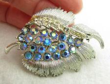 Vintage Coro Signed Blue Aurora Borealis Rhinestone Silver Tone Brooch Pin