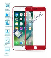 Protector de Pantalla Cristal Templado Completo para Apple Iphone 7 I7 Rojo