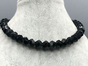 French Jet Necklace Black Glass Bead Beaded Faceted Vintage Costume Jewellery