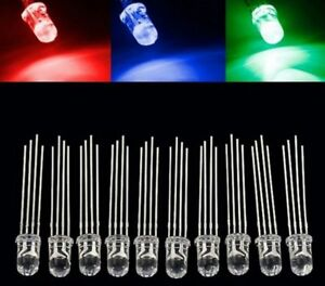 10 x 5mm RGB Common Cathode 4 Pin Water Clear LED Rainbow
