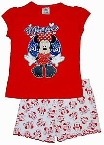 NEW MINNIE MOUSE SHORTIE PYJAMAS SET TOP & SHORTS DISNEY RED MIX 4-5 & 5-6 YEARS