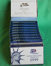 1999 to 2009 S 11 Years Annual US Mint PROOF Set Collection 127 Coins COA & Box