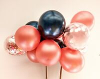 BALLOON CAKE TOPPER ROSE GOLD CONFETTI BRIDE PARTY BIRTHDAY WEDDING NAVY GARLAND