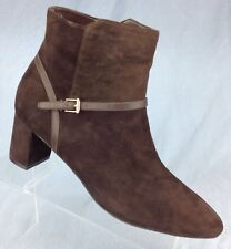 Cole Haan Grand Sylvan Bootie Ankle Boots Brown Leather Suede Womens 9.5 B
