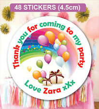 48 Birthday Party Bag Stickers Sweet cone Labels Balloons Personalised