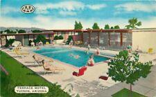 1954 Terrace Motel pool roadside Tucson Arizona Postcard 8778