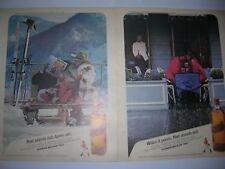 VINTAGE 2 LOT 1985 JOHNNIE WALKER RED SCOTCH LIQUOR ADVERTISEMENT POSTER PINUP