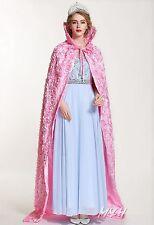 "Women Rose Cloak Coat Silken Cloth Satin Bridal Cape Poncho 71"" Pageant Costumes"