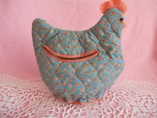 Vintage Chicken / Hen Fabric Figiurine with Woven Basket As Base