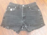 WOMEN'S JUNIOR'S HIGH WAISTED  BLACK JEAN SHORT SHORTS SIZE 30""