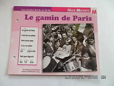 CARTE FICHE PLAISIR DE CHANTER MICK MICHEYL LE GAMIN DE PARIS