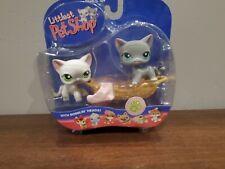 Littlest Pet Shop Lps Nib Grey & White Shorthair Cat #125 #126 *Flawed/see below