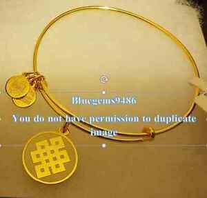 Alex and Ani Ivory Epoxy Endless Knot Charm Bangle Yellow Gold -Rare