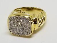 David Yurman Noblesse Pave Diamond Solid 18k Yellow Gold Ring sz7 unisex