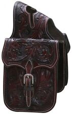 Showman BURGUNDY OIL Floral Tooled Leather Western Horn Bag!!! NEW HORSE TACK!!!