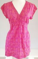 White Stuff Women's Top Tunic Pink Size 16 100% Cotton Boho Embroided Casual VGC