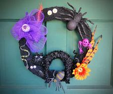 Spooky Halloween Fall Door Wreath w/ Spiders, Web, Eyeballs, Snake & Black Cat