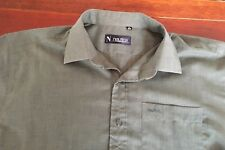Nautica Mens Olive Button Front Long Sleeve Shirt Size 17 1/2