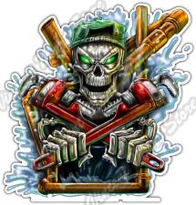 """Skeleton Plumber Skull Worker Pipe Wrench Car Bumper Vinyl Sticker Decal 4""""X5"""""""