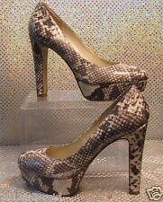 NINE WEST BROWN-WHITE SNAKE PRINT 5' HIGH HEEL PLATFORM PUMPS SZ 7M