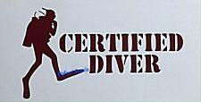 Certified Diver Decal Scuba Skin Snorkel Wreck Dive Car Truck SUV Window Sticker