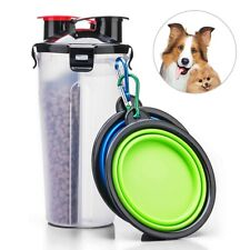 Pet Travel Dual-use Design Leak-proof Lid 2 in 1 Water Food Container  + Bowls