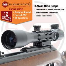3-9x40 Lunette de Visée avec Tactique Rails / Arme à Feu Compatible 9.5-11mm &