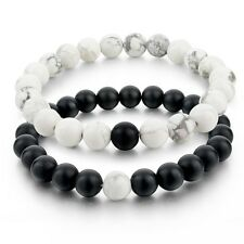 2x Natural Stone Balanced Howlite Matte Black White Beaded Couple Bracelets Mens