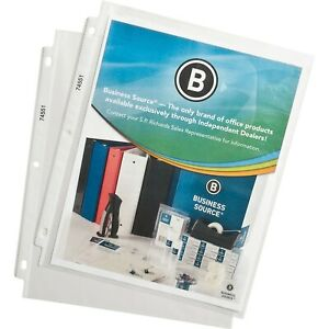 "Business Source 74551 Top-Loading Poly Sheet Protectors, 11"" x 9"", 100/Pk."
