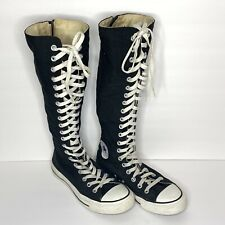 all black knee high converse