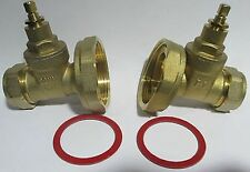 2 X PUMP TYPE GATE VALVE 22MM BRASS COMPRESSION CENTRAL HEATING ISOLATION PAIR