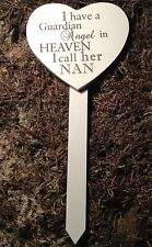 Memorial For Nan Heart Shaped Wooden Grave Stick, Stake Tribute F1279B