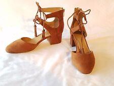 """Franco Sarto Cognac Faux Suede Round Toe Pump Size 7.5M 1.75"""" Covered Block Heel"""