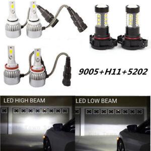 9005 H11 5202 LED Headlights + Fog Light for 2007-2013 GMC Sierra 1500 2500 3500